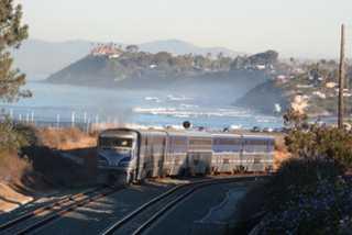 Solana Beach train from cliff