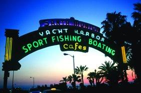 Santa Monica Pier Entrance at night